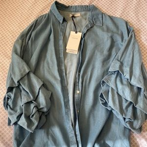 Zara Layer Sleeve Button Up Top